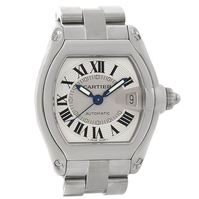7900 Cartier Roadster Mens Steel Large Watch W62000V3 SwissWatchExpo