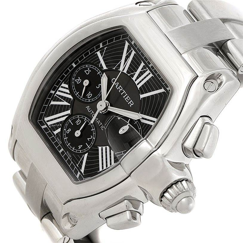 8057 Cartier Roadster Chronograph Black Dial Mens Watch W62020X6 SwissWatchExpo