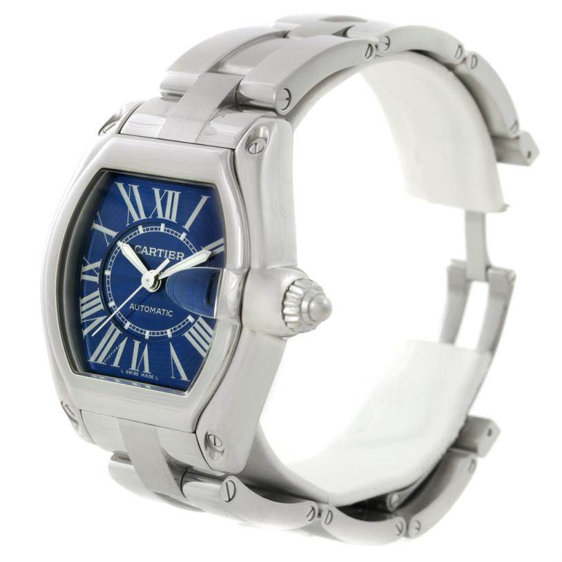 8076 Cartier Roadster Mens Steel Large Blue Dial Watch W62048V3 SwissWatchExpo