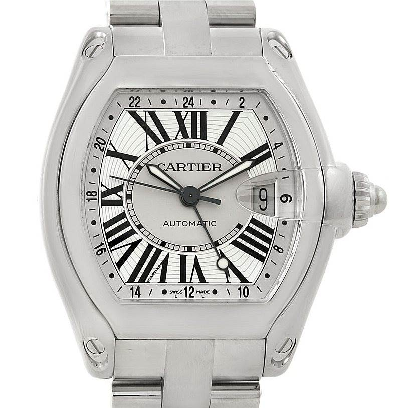 8001 Cartier Roadster Mens XL GMT Watch W62032X6 SwissWatchExpo