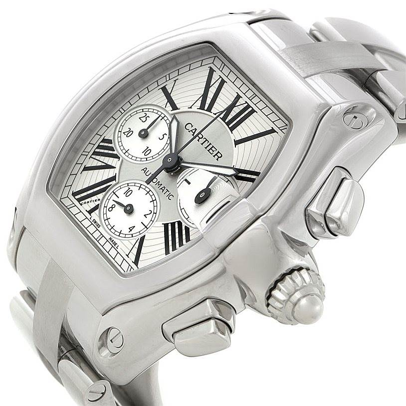 7989 Cartier Roadster Chronograph Silver Dial Mens Watch W62019X6 SwissWatchExpo