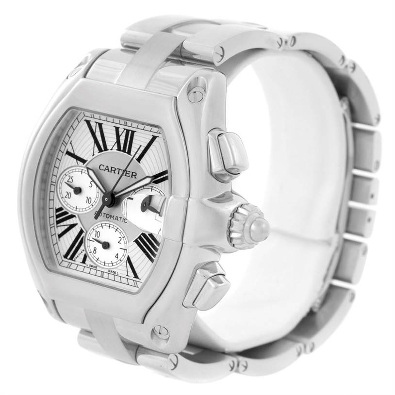 7970 Cartier Roadster Chronograph Silver Dial Mens Watch W62019X6 SwissWatchExpo