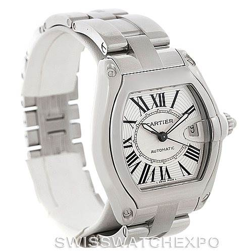 8261 Cartier Roadster Mens Steel Large Watch W62025V3 SwissWatchExpo