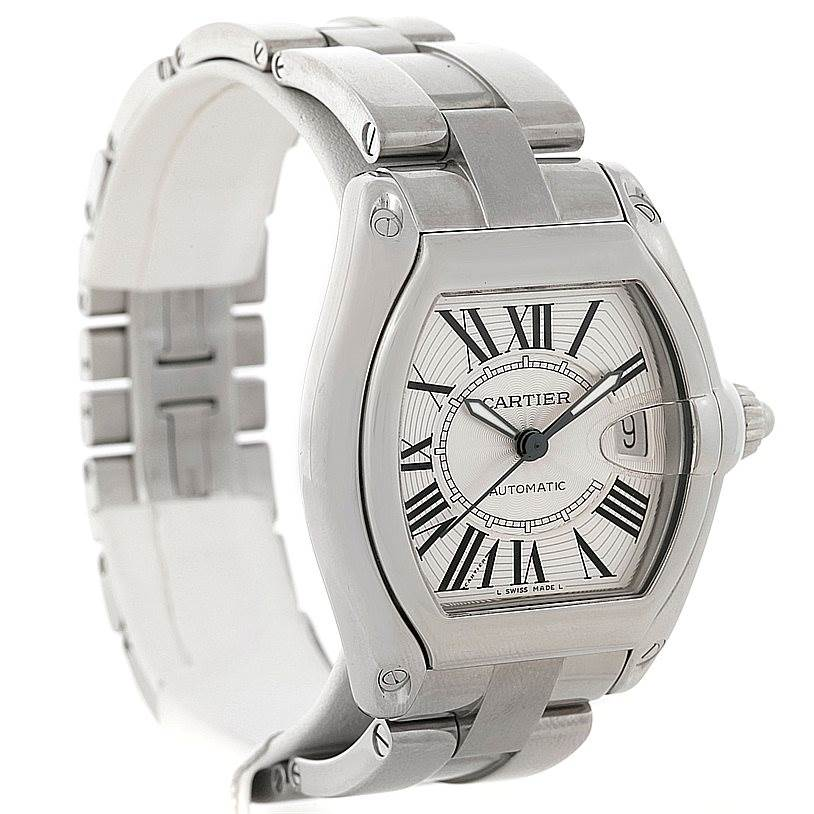 8164 Cartier Roadster Mens Steel Large Watch W62025V3 SwissWatchExpo