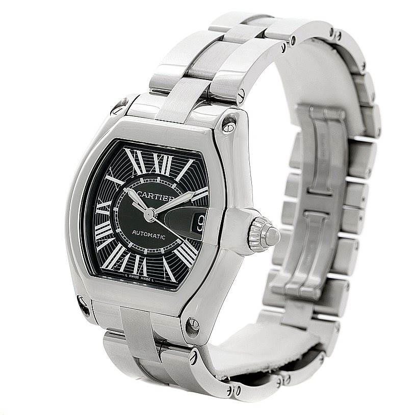8491 Cartier Roadster Steel Large Black Dial Watch W62041V3 Unworn SwissWatchExpo