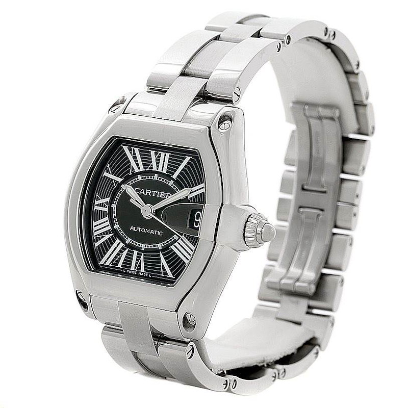Cartier Roadster Steel Large Black Dial Watch W62041V3 Unworn SwissWatchExpo