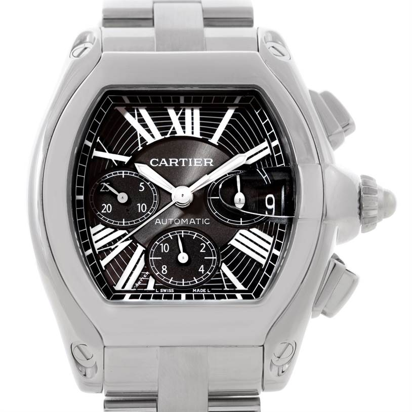 8134 Cartier Roadster Chronograph Mens Watch W62020X6 SwissWatchExpo