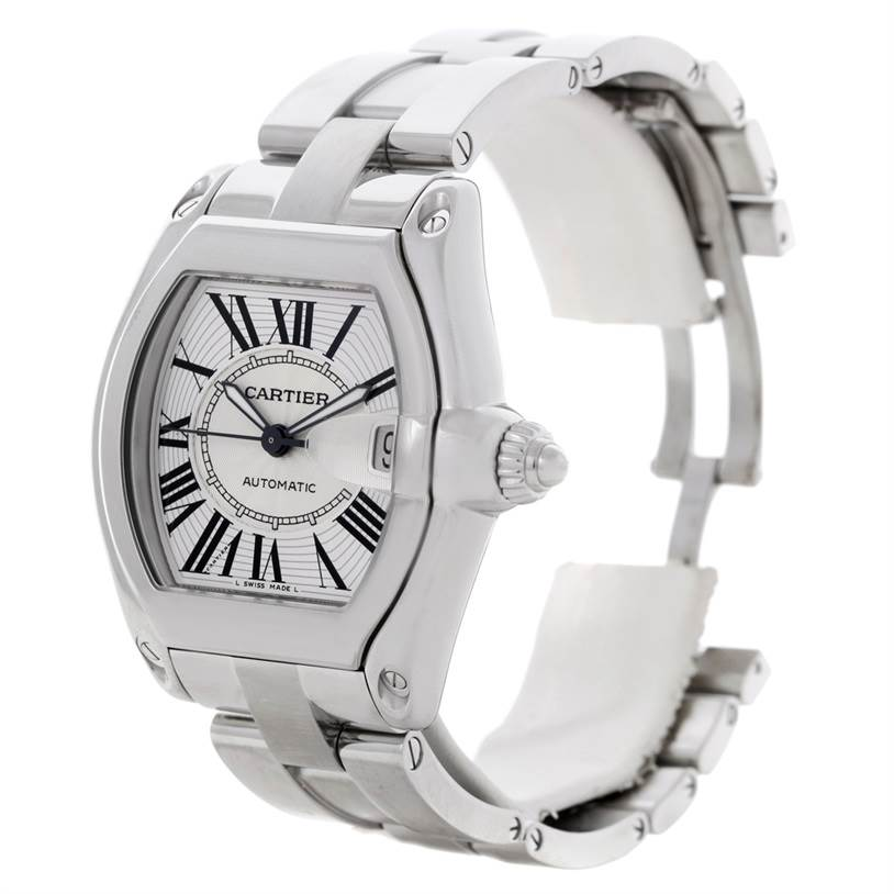 8596 Cartier Roadster Mens Steel Large Watch W62025V3 SwissWatchExpo