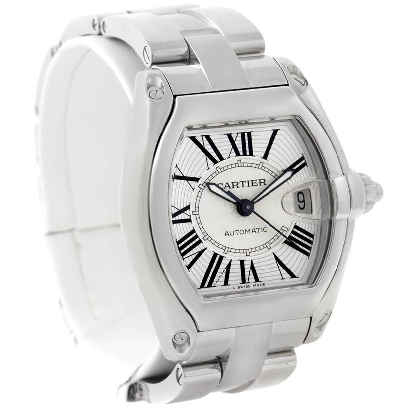 8109 Cartier Roadster Mens Steel Large Silver Dial Watch W62025V3 SwissWatchExpo