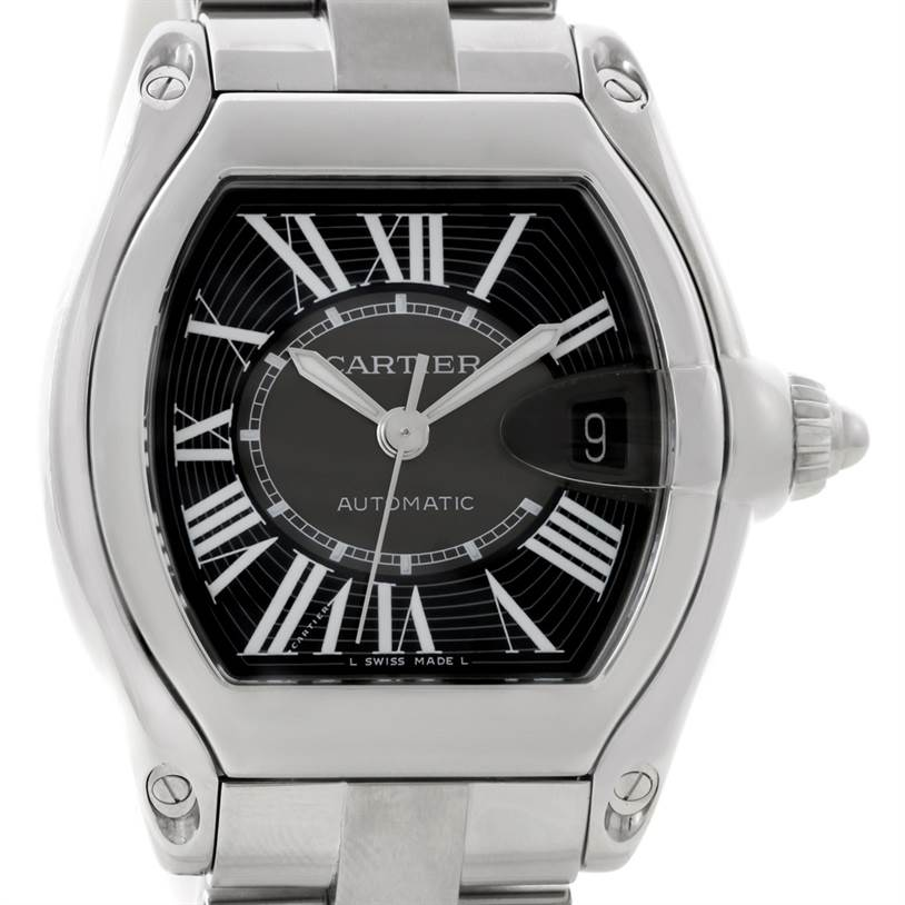 8819 Cartier Roadster Mens Steel Large Black Dial Watch W62041V3 SwissWatchExpo