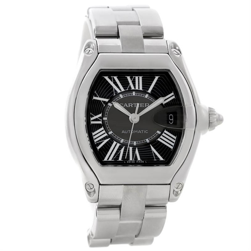 Cartier Roadster Mens Steel Large Black Dial Watch W62041V3 SwissWatchExpo
