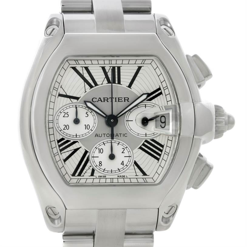 7919 Cartier Roadster Chronograph Silver Dial Mens Watch W62019X6 SwissWatchExpo