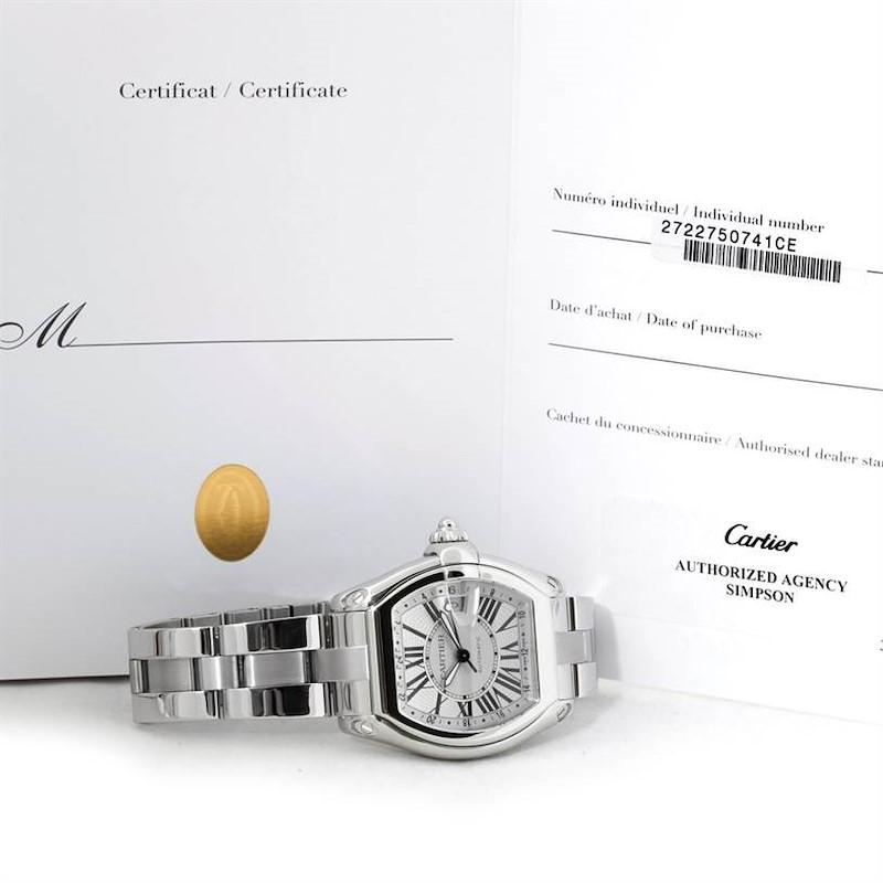 Cartier Roadster GMT Silver Dial Mens XL Watch W62032X6 SwissWatchExpo