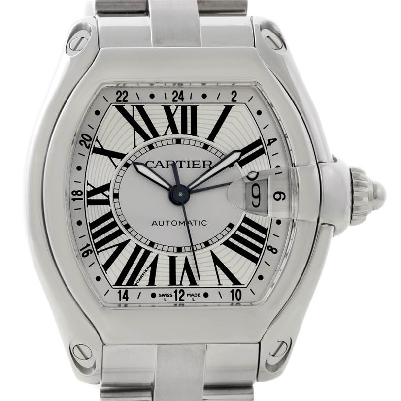 8836 Cartier Roadster GMT Silver Dial Mens XL Watch W62032X6 SwissWatchExpo