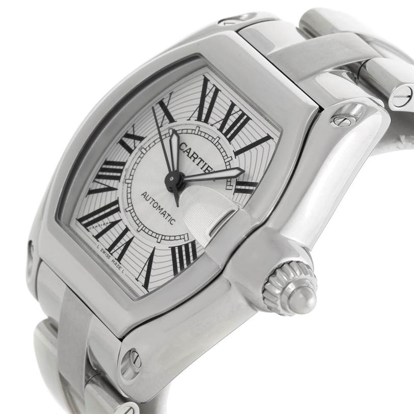 Cartier Roadster Silver Dial Mens Stainless Steel Large Watch W62025V3 SwissWatchExpo