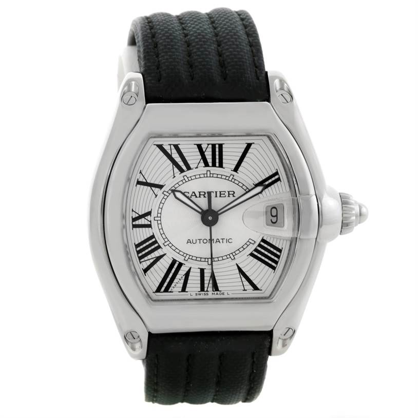 8539 Cartier Roadster Silver Dial Mens Stainless Steel Large Watch W62025V3 SwissWatchExpo
