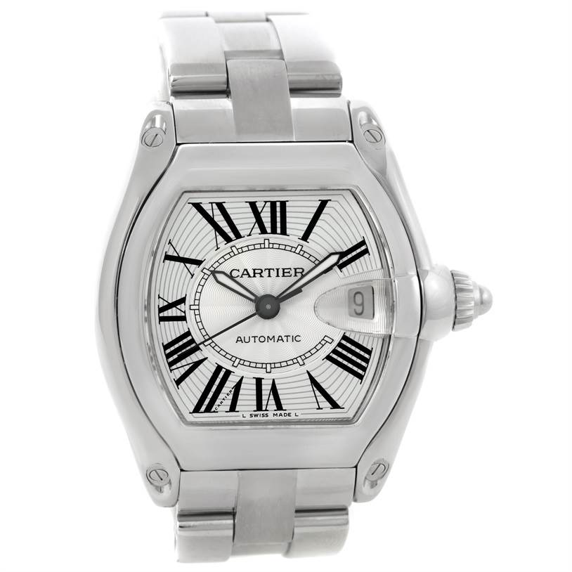 9089 Cartier Roadster Mens Steel Large Silver Dial Watch W62025V3 SwissWatchExpo
