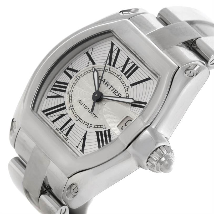 9172 Cartier Roadster Mens Steel Large Silver Dial Watch W62025V3 SwissWatchExpo