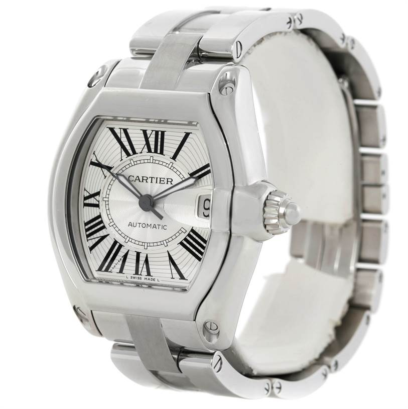 9342 Cartier Roadster Mens Steel Large Silver Dial Watch W62025V3 SwissWatchExpo