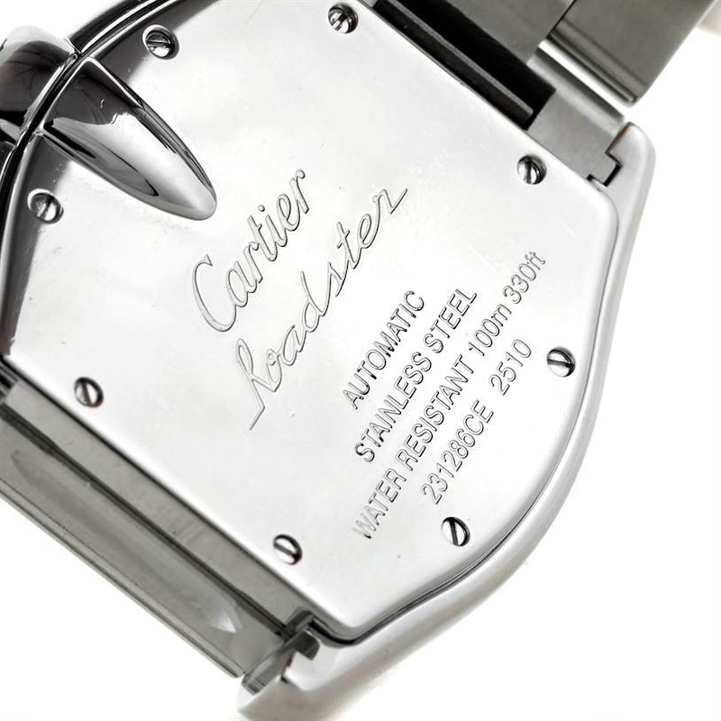 Cartier Roadster Mens Steel Large Silver Dial Watch W62025V3 SwissWatchExpo