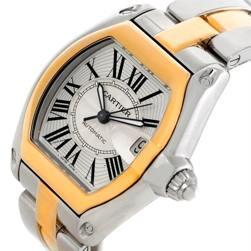 8998 Cartier Roadster 18k Yellow Gold Steel Mens Watch W62031Y4 SwissWatchExpo