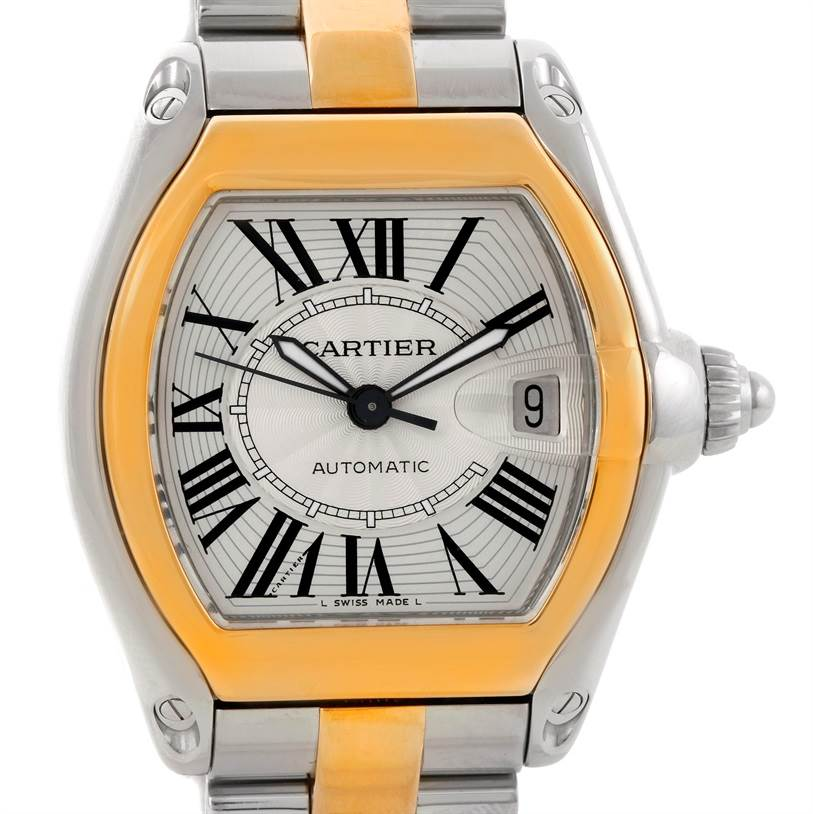 Cartier Roadster 18k Yellow Gold Steel Mens Watch W62031Y4 SwissWatchExpo