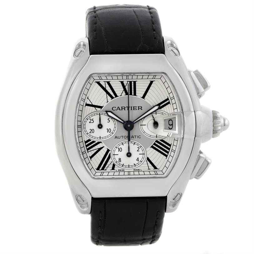 7963 Cartier Roadster Chronograph Silver Dial Mens Watch W62019X6 SwissWatchExpo