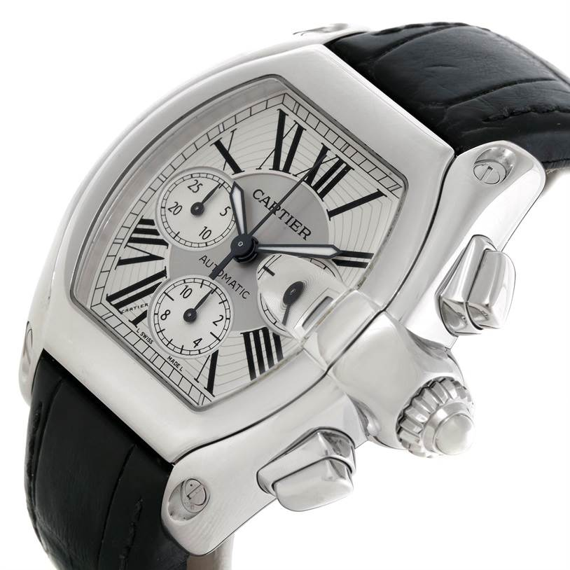 Cartier Roadster Chronograph Silver Dial Mens Watch W62019X6 SwissWatchExpo