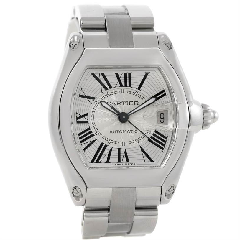 9367 Cartier Roadster Mens Steel Large Silver Dial Watch W62025V3 SwissWatchExpo