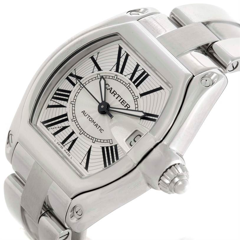 9570 Cartier Roadster Mens Steel Large Silver Dial Watch W62025V3 SwissWatchExpo