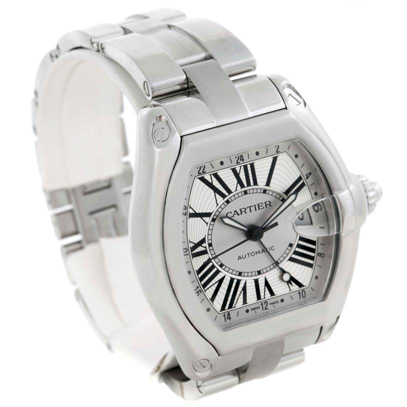 Cartier Roadster XL GMT Silver Dial Mens Watch W62032X6 SwissWatchExpo