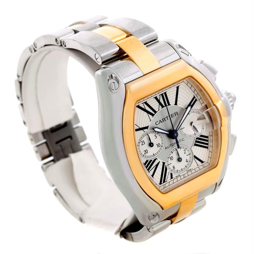 9701 Cartier Roadster Chronograph Mens Steel Yellow Gold Watch W62027Z1 SwissWatchExpo