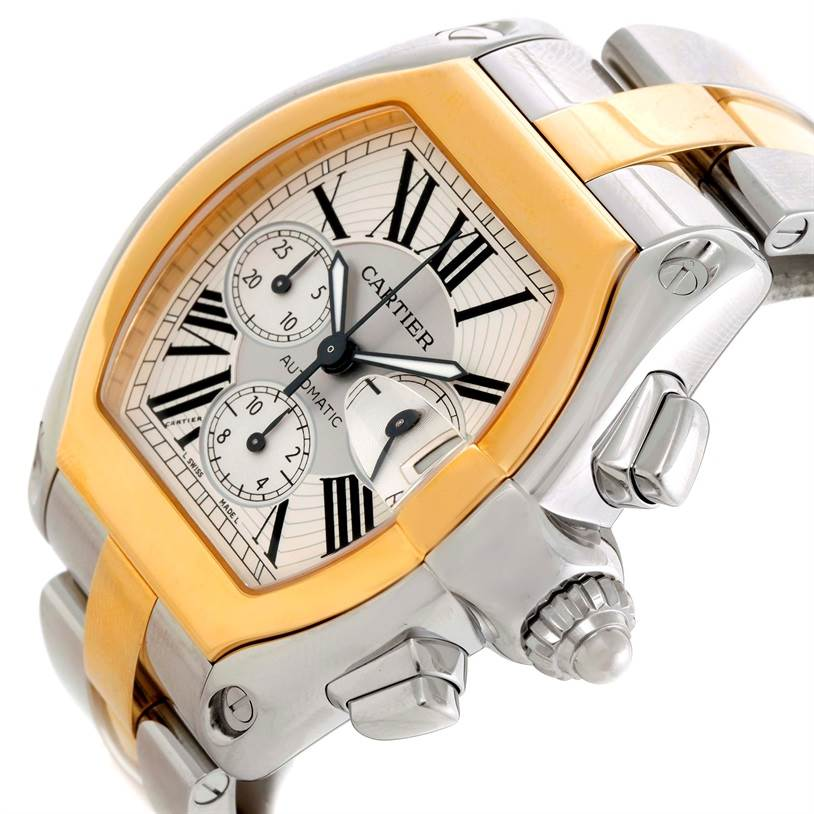 9701 Cartier Roadster Chronograph Mens Steel Yellow Gold Watch W62027Z1 SwissWatchExpo