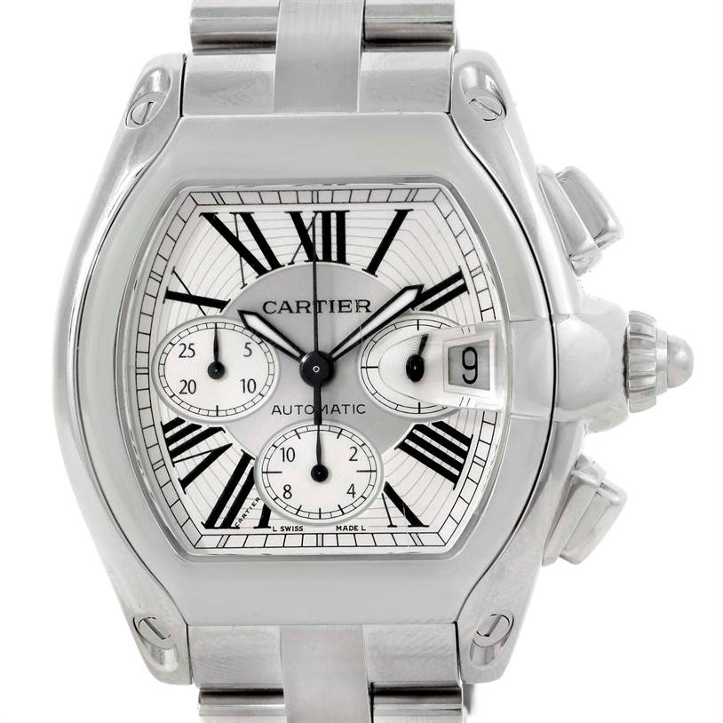 9514 Cartier Roadster Chronograph Silver Dial Mens Watch W62019X6 SwissWatchExpo