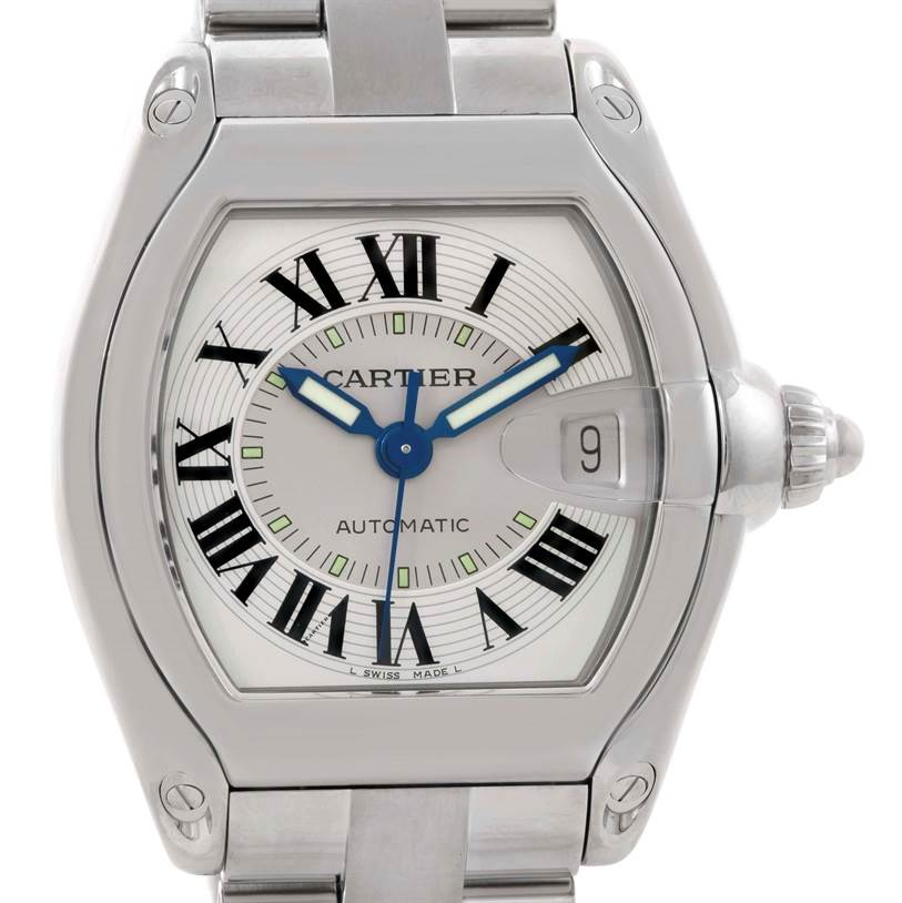Cartier Roadster Large Mens Steel Silver Dial Watch W62000V3 SwissWatchExpo