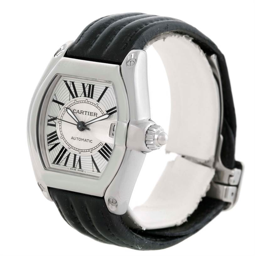 9723 Cartier Roadster Mens Steel Large Silver Dial Watch W62025V3 SwissWatchExpo