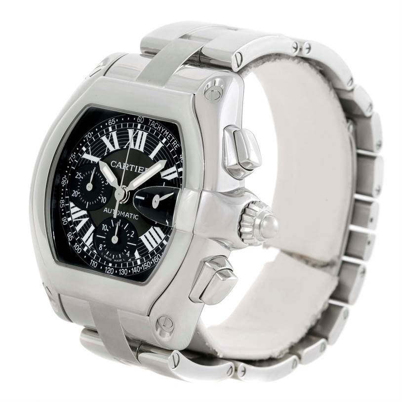 9820 Cartier Roadster Chronograph Black Dial Mens Watch W62007X6 SwissWatchExpo