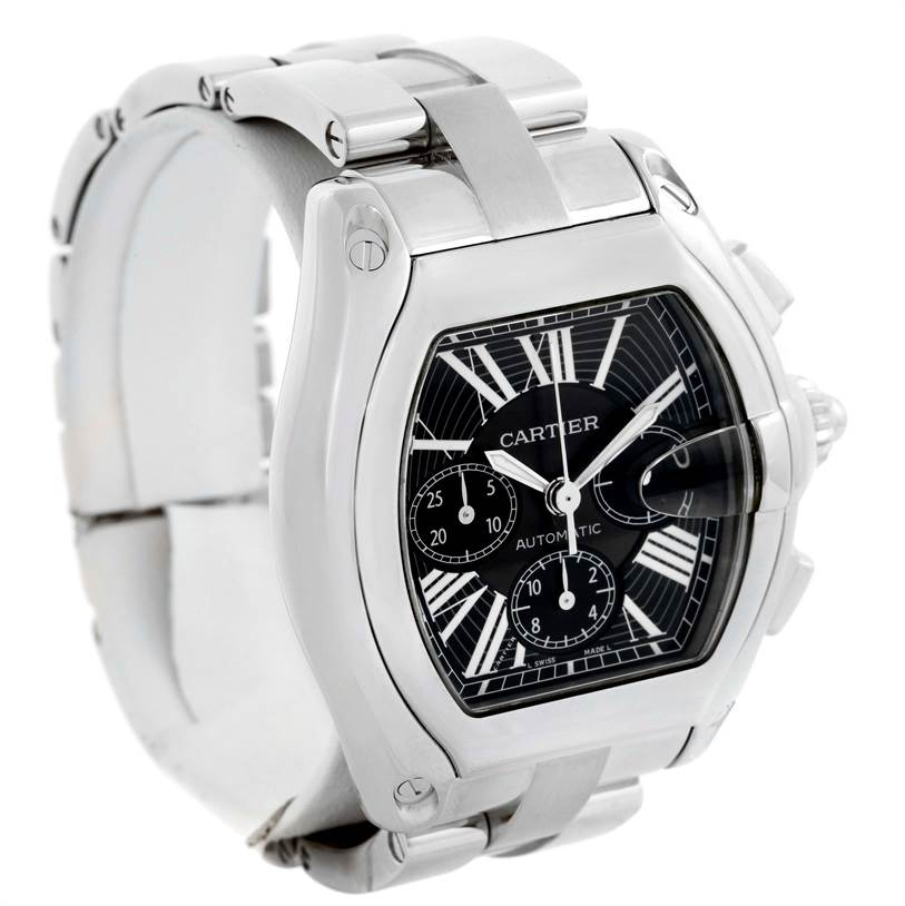 9898 Cartier Roadster Chronograph Black Dial Mens Watch W62020X6 SwissWatchExpo