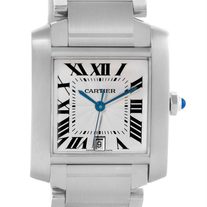 Cartier Tank Francaise Guilloche Dial Large Mens Watch W51002Q3 SwissWatchExpo