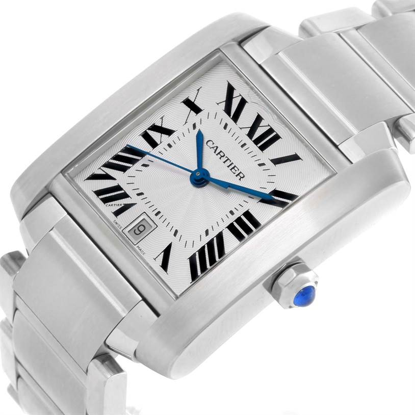 10282 Cartier Tank Francaise Guilloche Dial Date Large Mens Watch W51002Q3 SwissWatchExpo