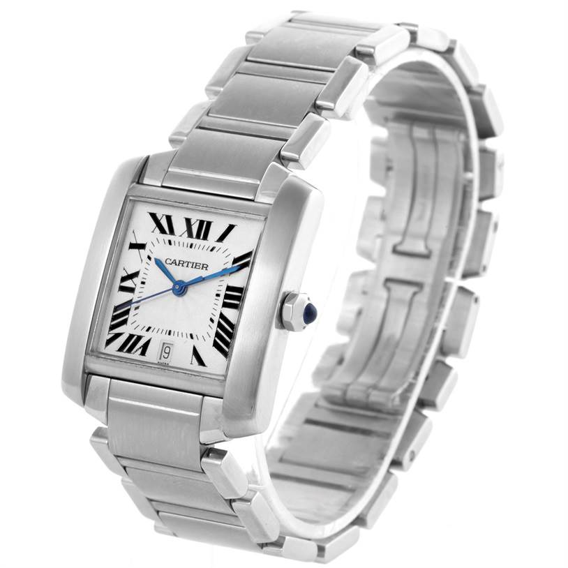8600 Cartier Tank Francaise Automatic Silver Dial Large Watch W51002Q3 SwissWatchExpo