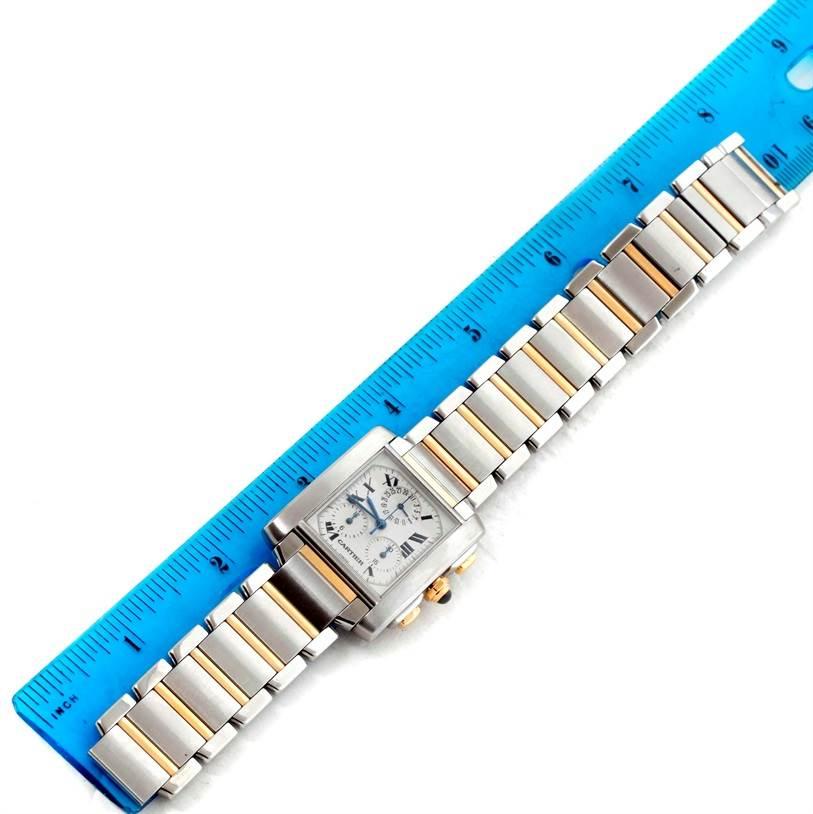 10753 Cartier Tank Francaise Mens Steel Gold Chrongraph Watch W51004Q4 SwissWatchExpo