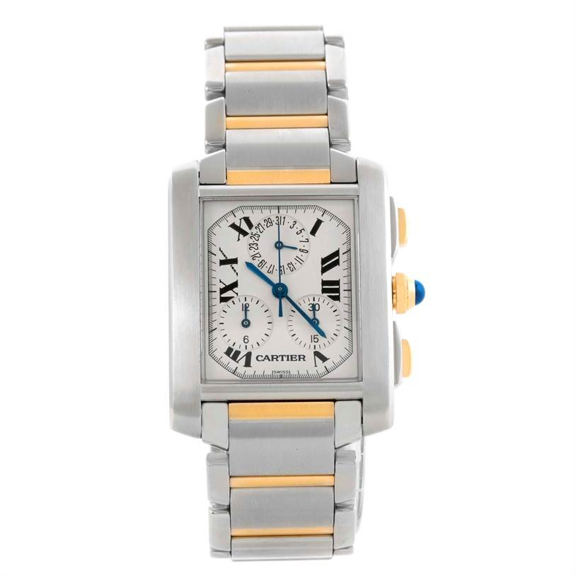 10753 Cartier Tank Francaise Mens Steel Gold Chrongraph Watch W51004Q4 SwissWatchExpo