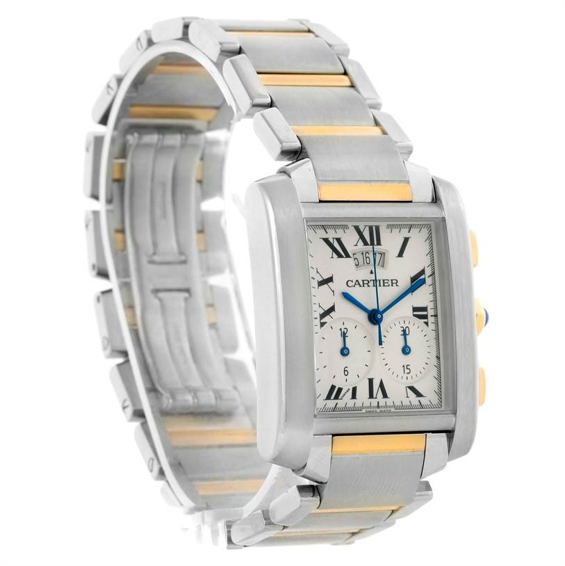 10791 Cartier Tank Francaise Mens Two Tone Chrongraph Watch W51004Q4 SwissWatchExpo