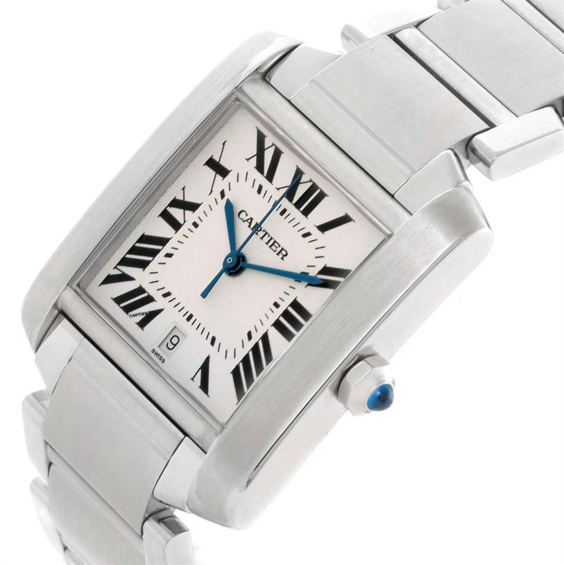 10370 Cartier Tank Francaise Automatic Silver Dial Large Watch W51002Q3 SwissWatchExpo