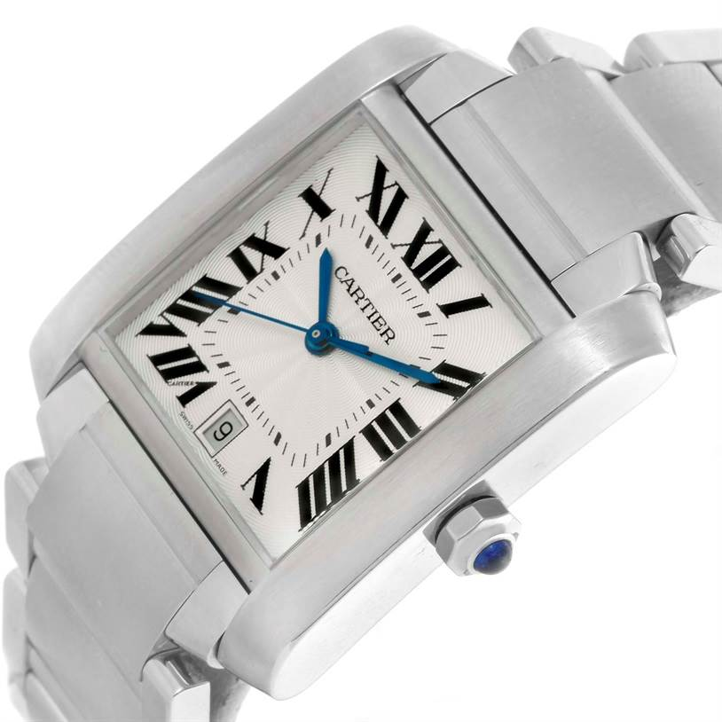 10485 Cartier Tank Francaise Automatic Silver Dial Large Watch W51002Q3 SwissWatchExpo