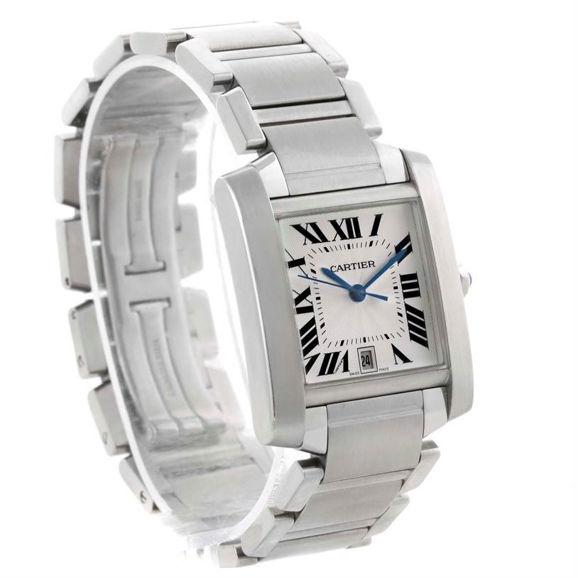 11030 Cartier Tank Francaise Automatic Silver Dial Large Watch W51002Q3 SwissWatchExpo