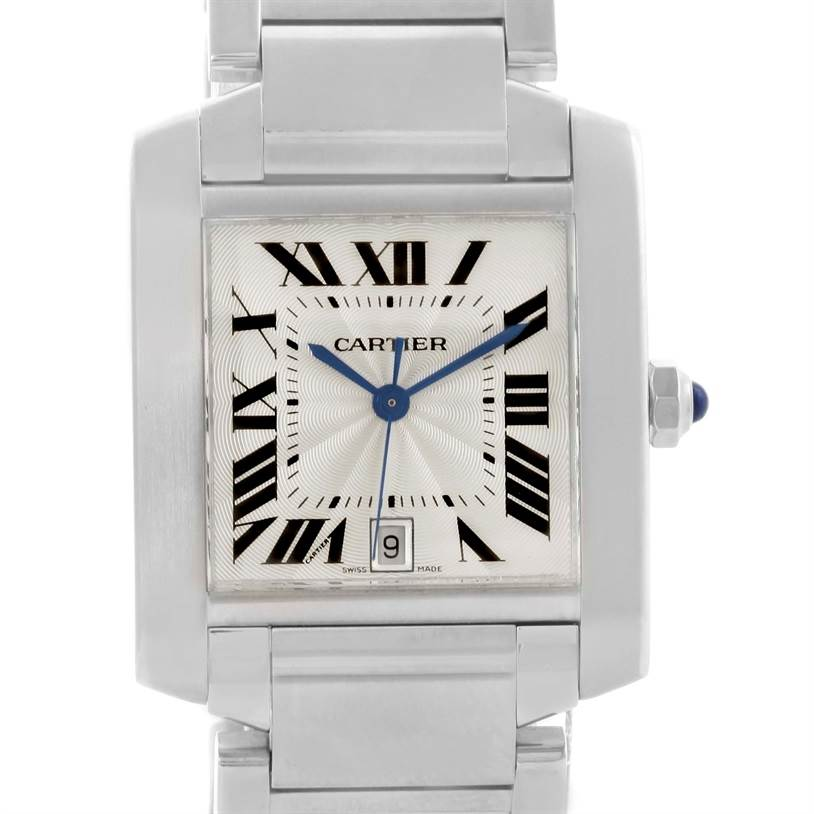 11027 Cartier Tank Francaise Automatic Silver Dial Date Watch W51002Q3 SwissWatchExpo