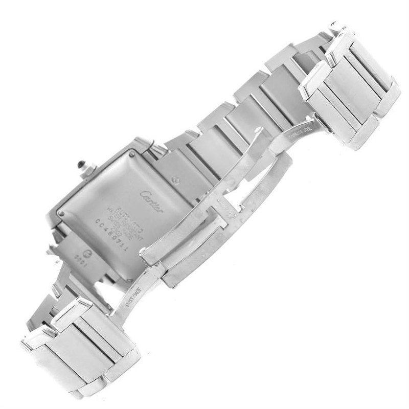 Cartier Tank Francaise Automatic Silver Dial Date Watch W51002Q3 SwissWatchExpo