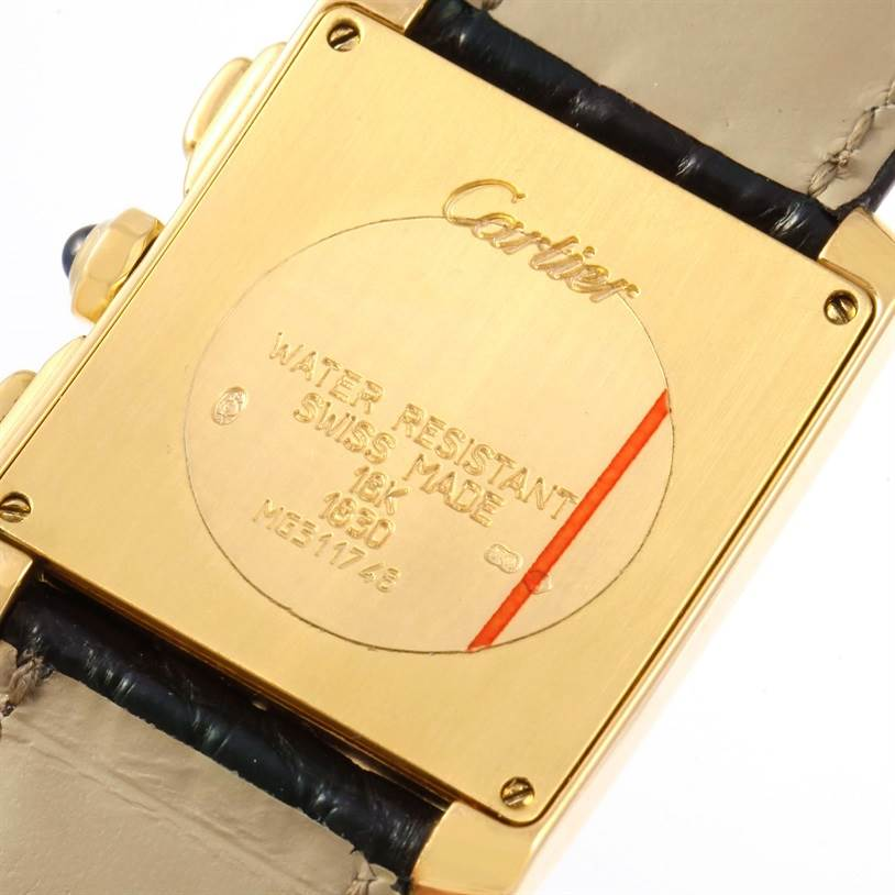12177 Cartier Tank Francaise Chronoflex 18K Yellow Gold Watch W5000556 SwissWatchExpo